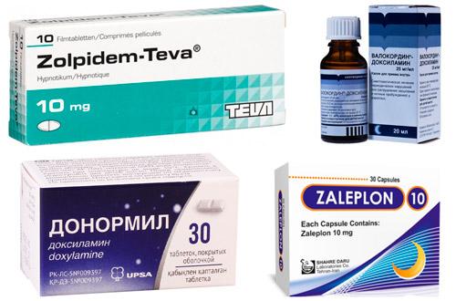рекомендуемые препараты: Золпидем, Залеплон, Доксиламин, Валокордин-Доксиламин