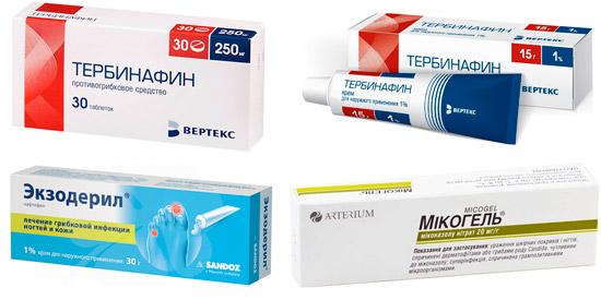 лекарства рекомендуемые от лишая: Тербинафин, Экзодерил, Микогель