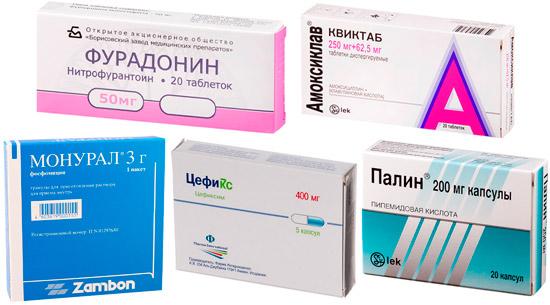 лекарства от урологических инфекций: Монурал, Фурадонин, Амоксиклав и др.