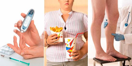 возможные причины тромбофилии: сахарный диабет, ожирение, атеросклероз