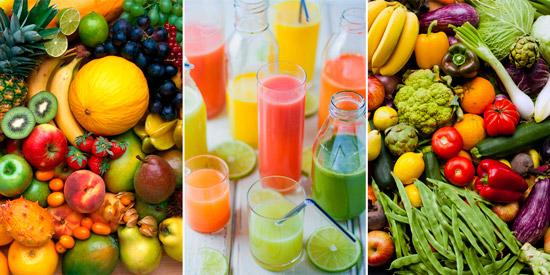 свежие фрукты, овощи и соки