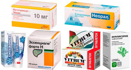 лекарства для комплексного лечения псориаза: Преднизолон, Сандиммун, Энтеросгель и др.