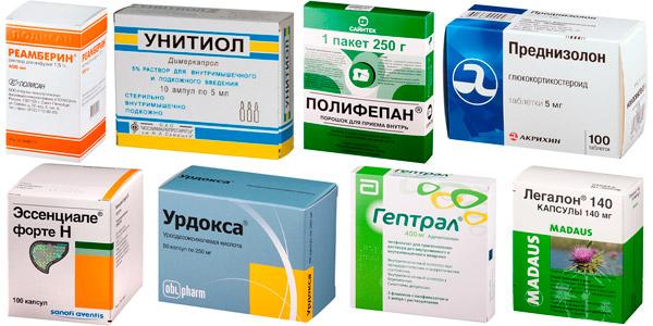 препараты для комплексного лечения гепатита: Реамберин, Унитиол, Полифепан и др.