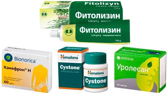 дополнительные препараты при цистите: паста Фитолизин, Канефрон, Цистон, Уролесан