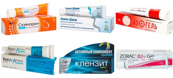 препараты для лечения акне: Скинорен, Ретин-А, Клензит и др.