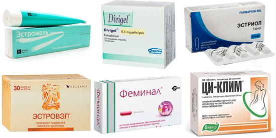 препараты для повышения уровня эстрадиола: Эстрожель, Эстриол, Феминал и др.