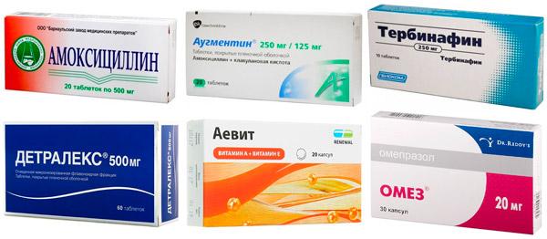 препараты для дополнительного лечения экземы: Амоксициллин, Тербинафин, Детралекс и др.