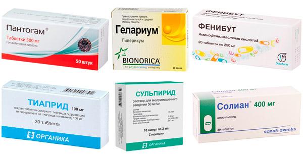 рекомендуемые лекарства при тиках: Пантогам, Фенибут, Тиаприд и др.