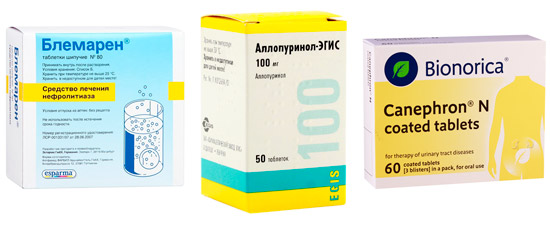препараты для лечения кристаллурии: Блемарен, Аллопуринол, Канефрон H