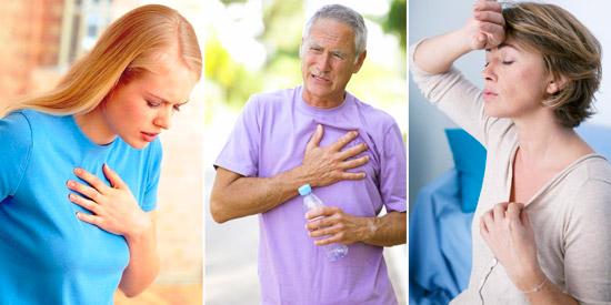 отдышка, боль в груди, нарушение ритма сердца