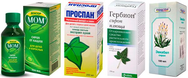 растительные средства от кашля: Доктор Мом, Проспан и др.