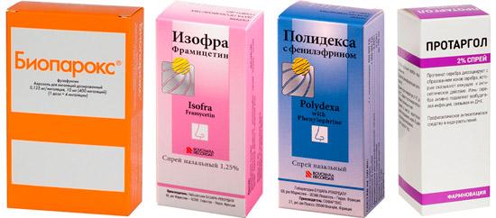 препараты местного действия при гайморите: Биопарокс, Изофра и др.