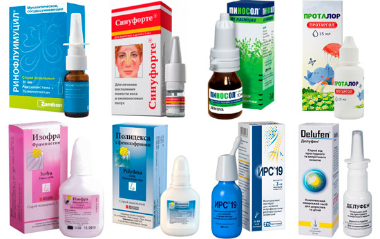 рекомендуемые препараты от насморка: Синуфорте, Пиносол, ИРС-19 и др.