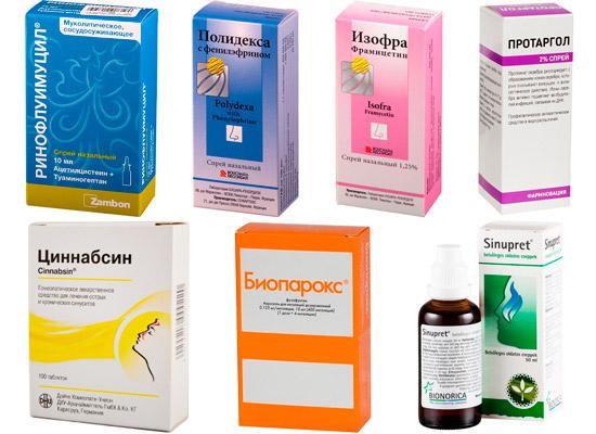 препараты для лечения соплей: Ринофлуимуцил, Изофра, Полидекса и др.