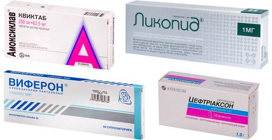 препараты для комплексного лечения: Амоксиклав, Ликопид и др.