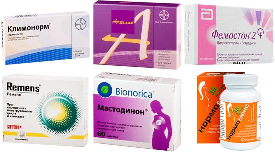 рекомендуемые медикаменты: Климонорм, Анжелик, Ременс и др.