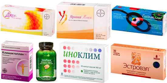 рекомендуемые препараты: Джес, Гестарелла, Климактоплан и др.