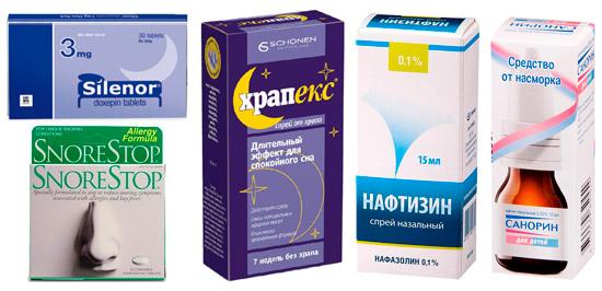 рекомендуемые лекарства от храпа: Сайленор, Снортоп, Нафтизин и др.