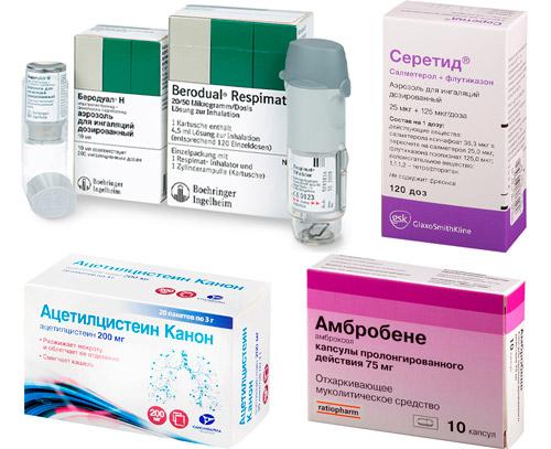 Бронходилататоры и муколитики: Беродуал, Ацетилцистеин и др.