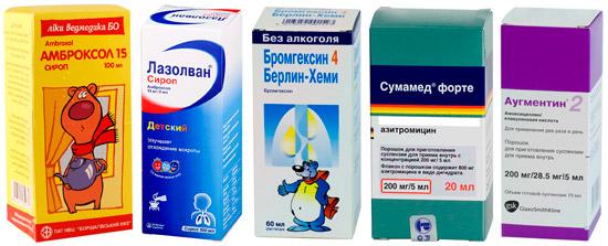 препараты от бронхита: Амброксол, Сумамед и др.