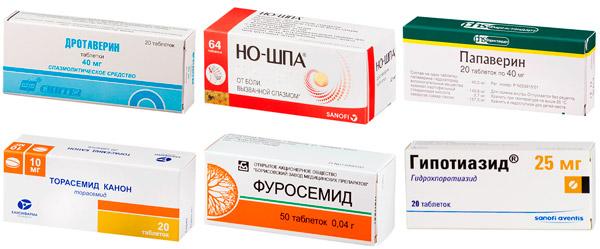 лекарства для комплексного лечения: Дротаверин, Папаверин, Фуросемид и др.