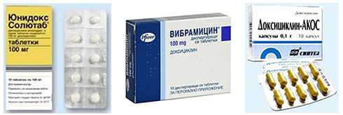 препараты юнидокс солютаб, вибрамицин равным образом доксициклин-акос